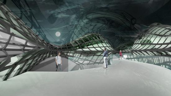Rendering showing people inside a building made of multiple panels with a night sky outside