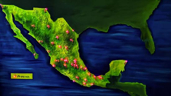 Painting of Mexico with dark blue water and bright green land with small lit red crosses spread across it.