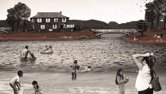 graphic rendering of proposed beach with house and hills in background