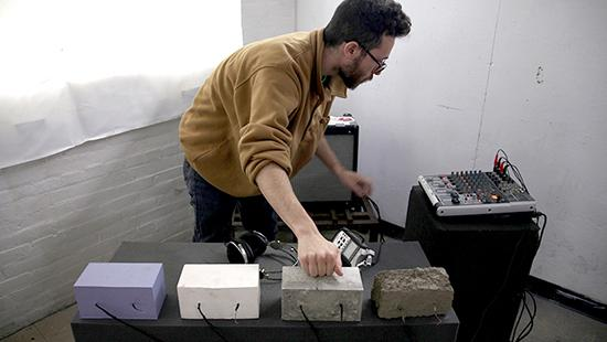 Brad Nathanson demonstrating brick instruments.