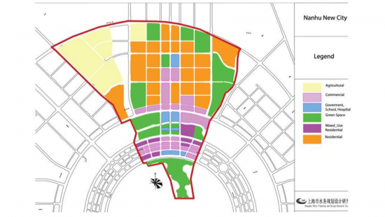 map diagram with color boxes and red outline