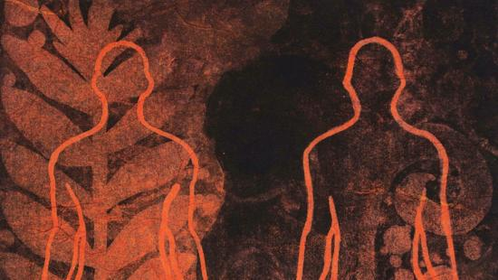 Black and orange print of two human figures outlined against faded plants in the background.