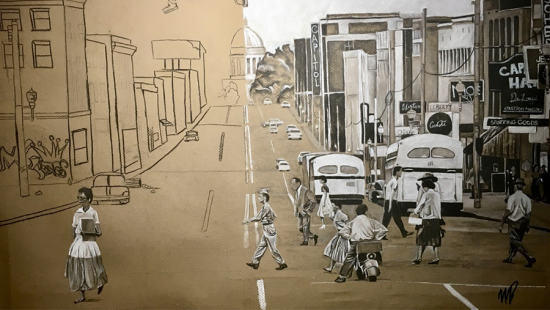 hybrid drawing with hand sketch on left side and street photo collage on right