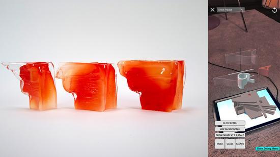 Glass molds adjacent to a digital render.