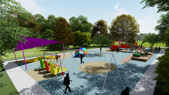 digital rendering of playground with trees in background