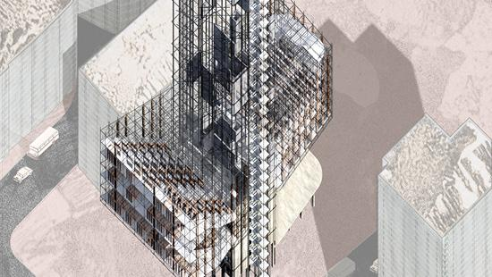 rendering of tall vertical building during construction phase