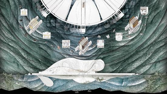 Illustration of a figure lying on a bench with figures and a dial above.