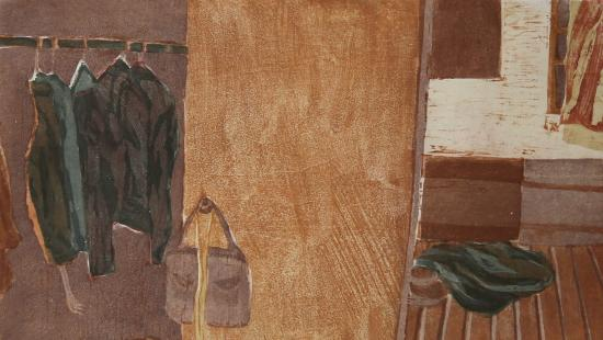 Red and brown tinged print of a room with clothes hanging in a closet with wooden floors.