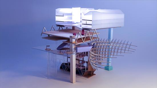 Model of collaged parts photographed with a light emitting a purple glow.