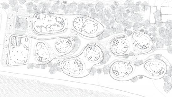Plan of preschool showing a series of five bubbles distributed on the site.