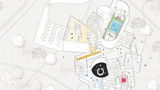 Axonometric showing the activity in the intersecting spaces such as a pool, track, bar, and diner.