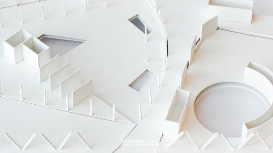 Model of exposed plan of geometric shapes.