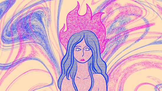 Pink and blue print of a woman with blue hair with pink flames on top of her head with a pink and blue swirled background.