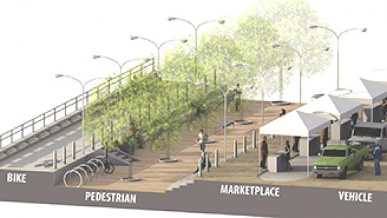 Rendering of vendors under awnings with car parked on one side and pedestrian walkway on the other