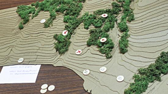 Detail of map model for Aurora Community Trail