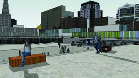 Rendering of city plaza.