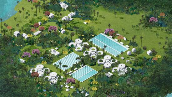 A digital rendering of an architectural structure situated in the natural environment of Florida.