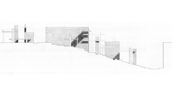 Graphite drawing of an architectural structures cross section.