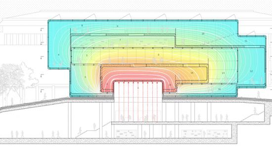 Digital rendering of an architectural structures cross section.