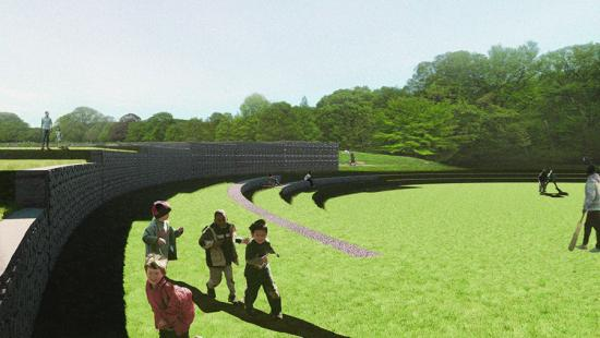 Digital rendering of a public, outdoor structure. Children are running in the images foreground.