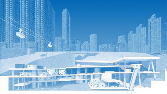 Digital rendering of the cross section of a building in the city.