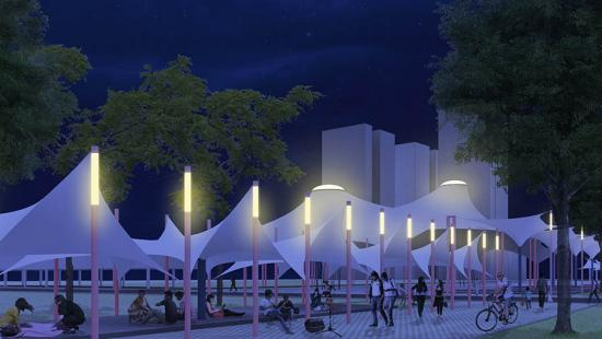 Digital rendering of an outdoor pavilion at night.