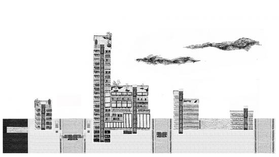 Cross sectional drawing of a city scape.