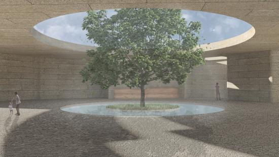 Diigital rendering of the interior of a memorial structure.