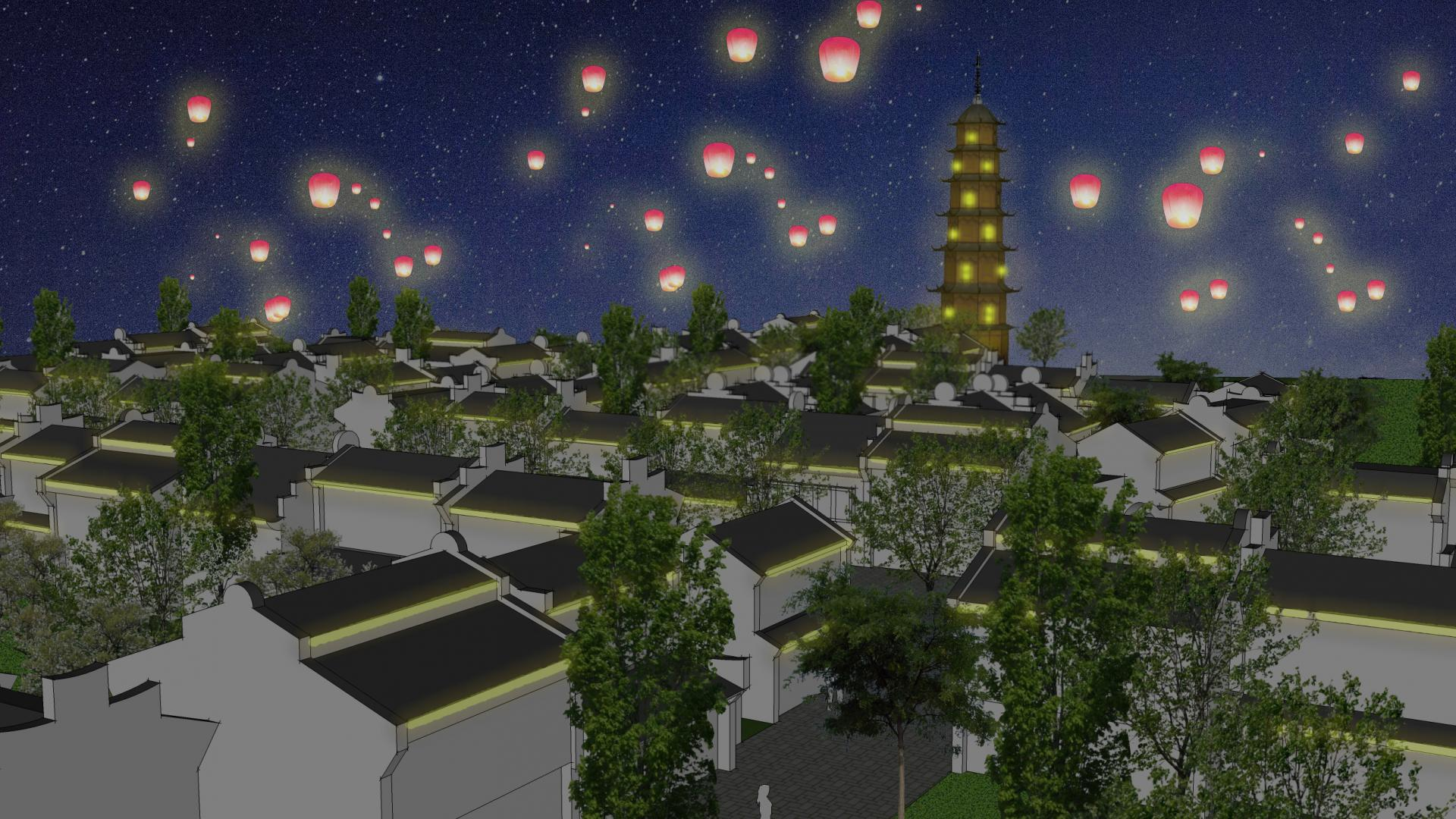 Lanterns floating in the sky above a suburban neighborhood.
