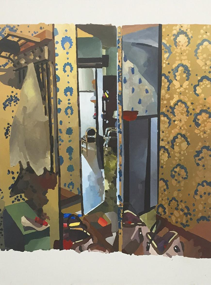 painting of a room with a door and abstract objects on the floor