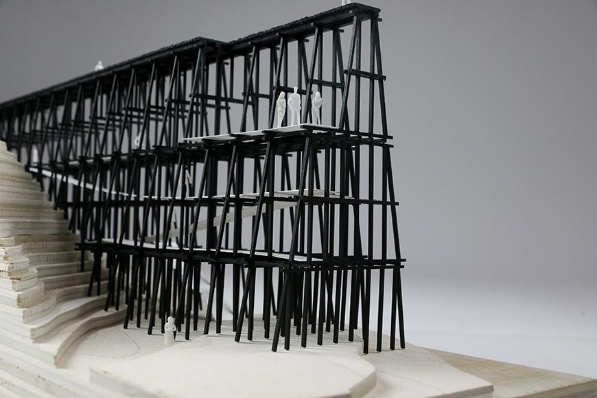 An architectural model of an overlook platform.