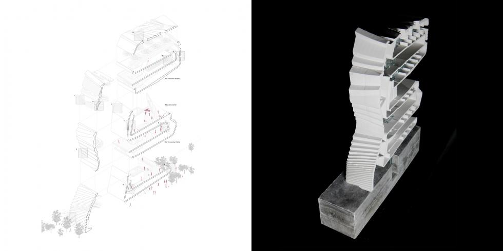 LEFT: drawing of vertical structure with stairs that switchback and forth. RIGHT: model of drawing.
