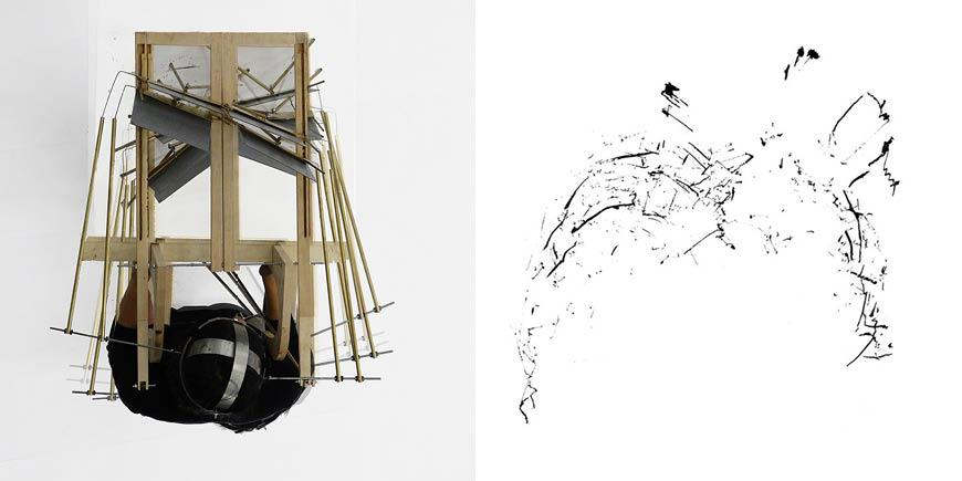 Left: Bird's-eye view of figure wearing a drawing machine. | Right: Black lines and splotches in varying directions.