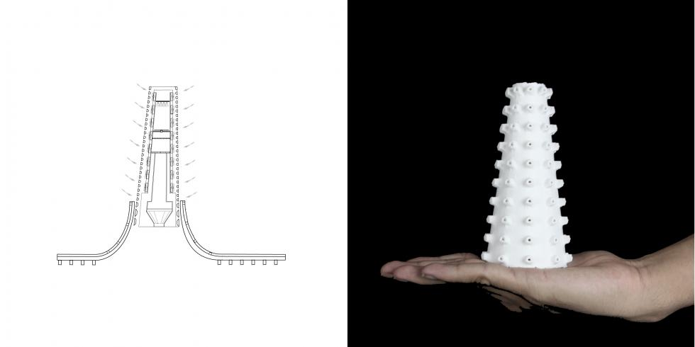 LEFT: drawing of thin vertical pyramid structure. RIGHT: model of drawing.