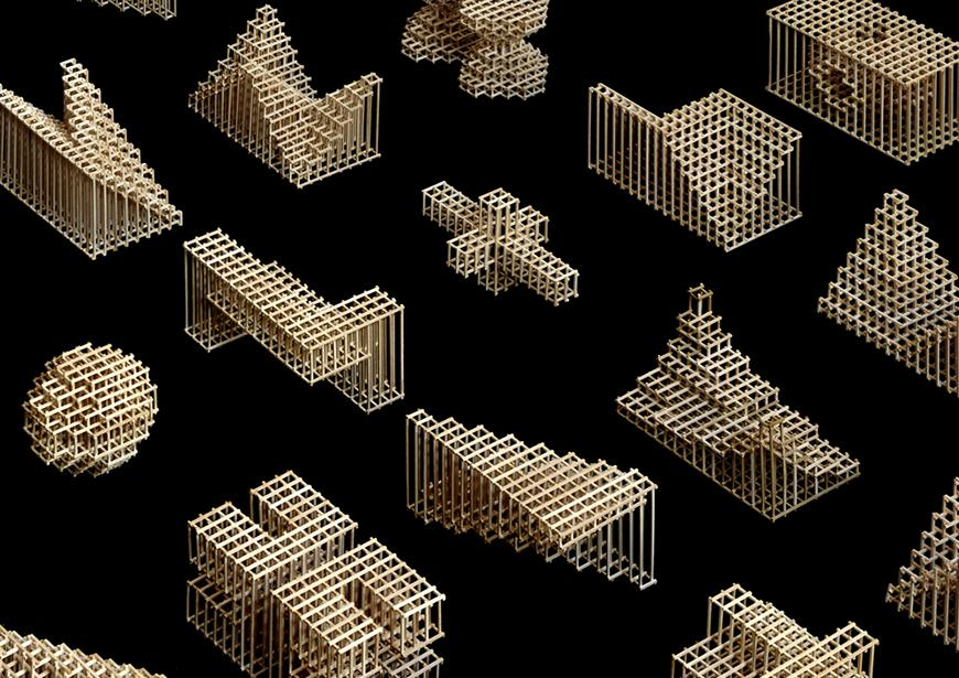a series of wooden geometric forms