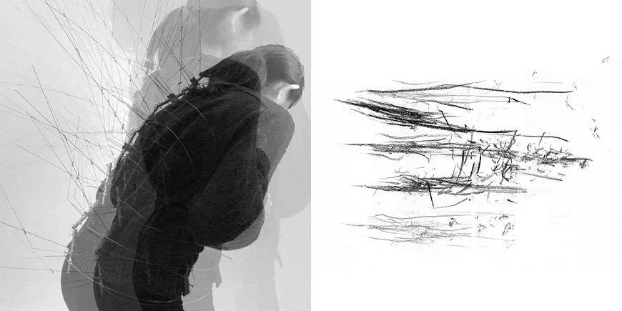 Left: Female using a drawing machine | Right: black lines with varying darkness and direction.