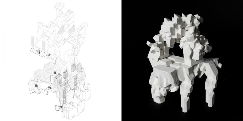 LEFT: drawing of a structure compiled of merged geometrical shapes. RIGHT: model of drawing.