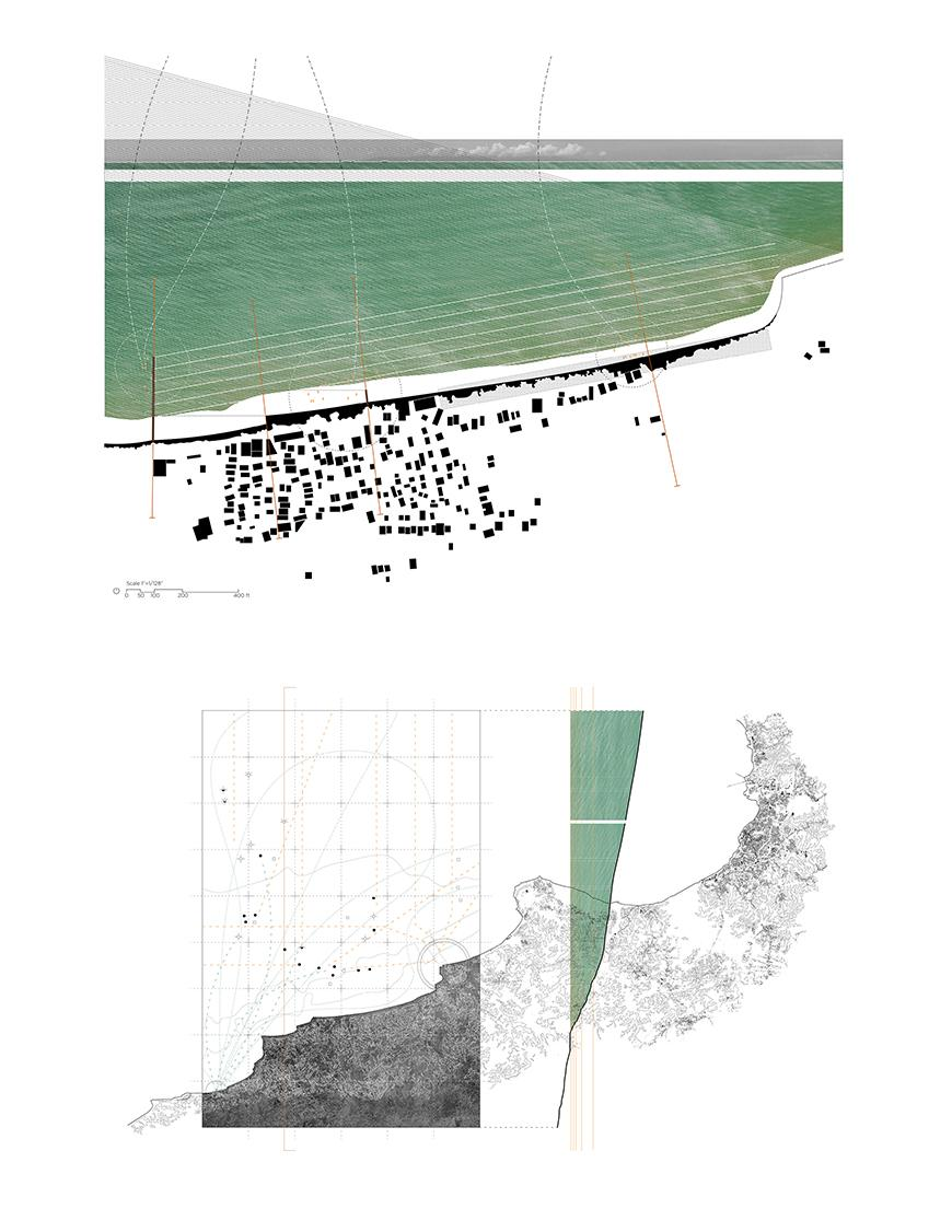 Digital rendering and arial view of a map which consists of a body of water and a series of buildings.