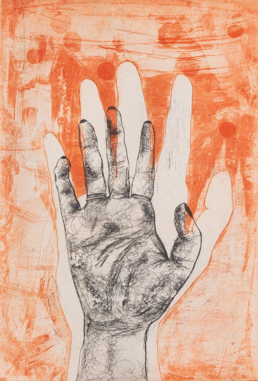 Orange background of a hand outline with a sketched hand drawn in the middle with some overlap of orange.