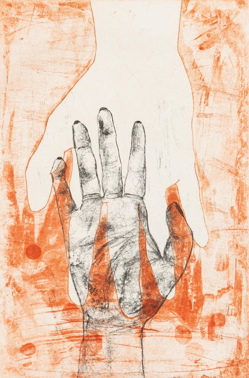 Orange background with a hand outline coming down from the top of the page with a sketched hand reaching towards it with some orange overlap.