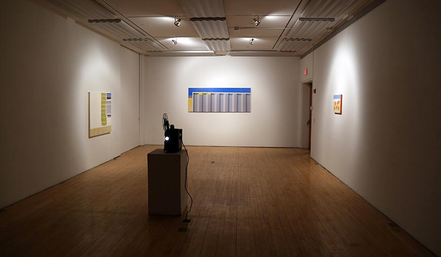 Image of an exhibition featuring work by Kaleb Hunkele.