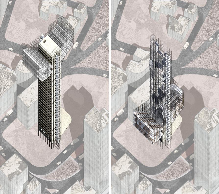 two renderings of tower during construction process