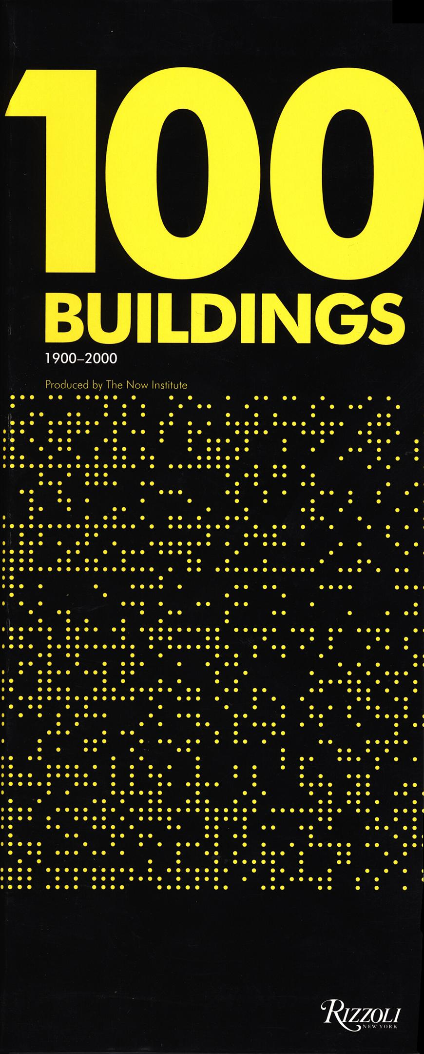 book cover 100 buildings bright yellow lettering over yellow and black geometric design