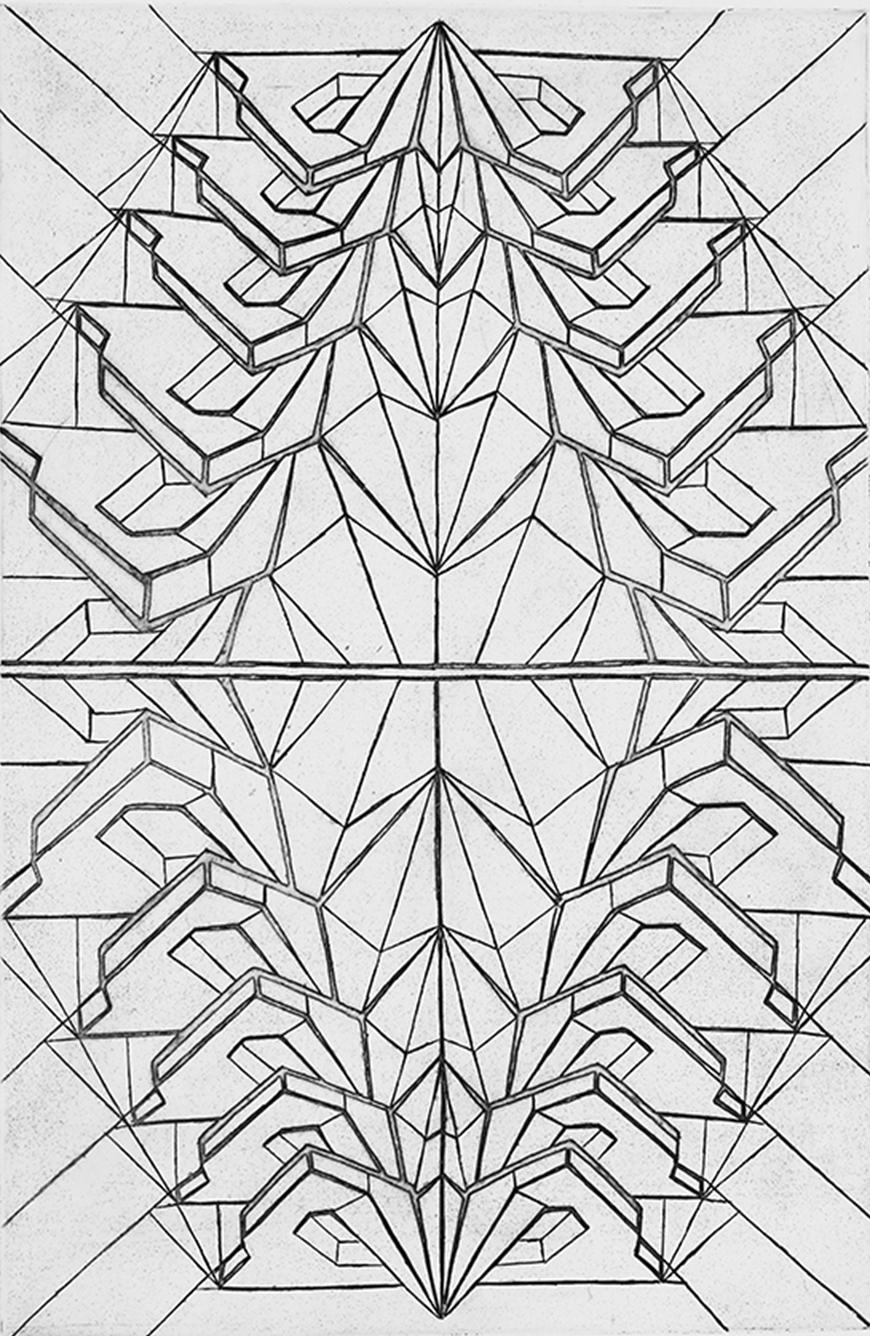 Black and white print of a mirrored diamond and triangle shaped image.