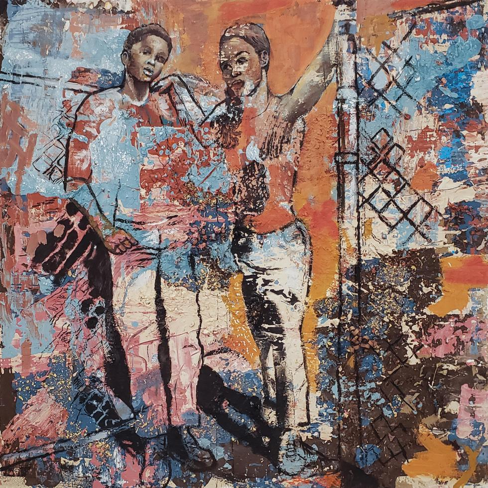 Painting of an outline of two figures, one leaning on a fence, the other holding the fence, set against a mixture of blue, orange, brown, cream colors.
