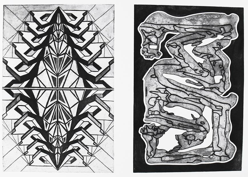 Black and white prints of two different geometric designs; left image has a diamond pattern and right image is abstract maze.