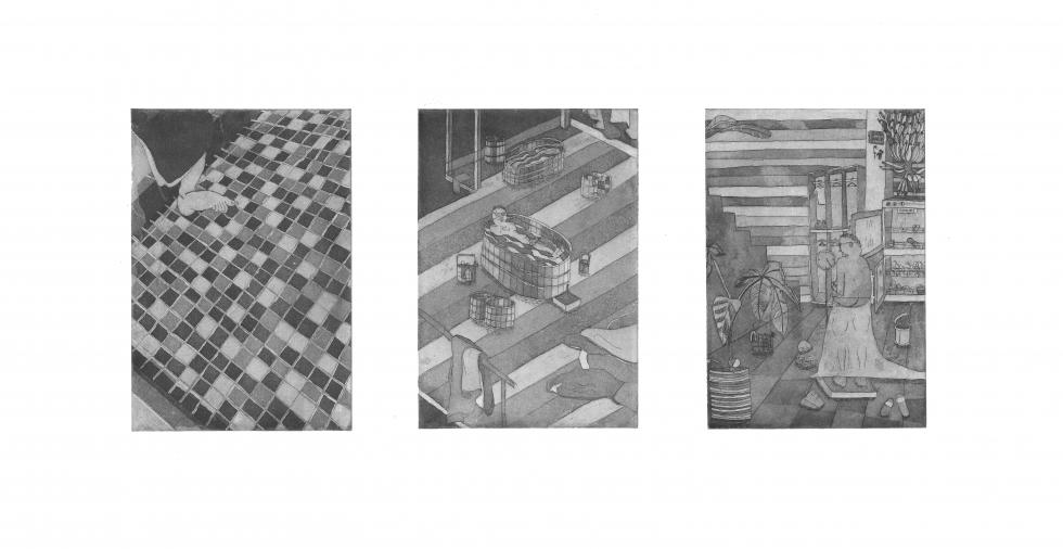 Three black and white images depicting a checkered floor, a person alone in a bathtub on a striped floor, and a person in a messy room draped in a towel.