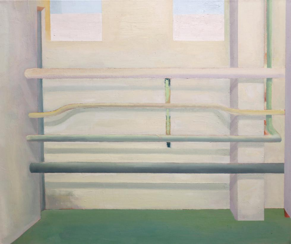 Painting of a room with white walls and 4 metal pipes going across it in white, yellow, gray and dark gray above a green floor with two windows above it.