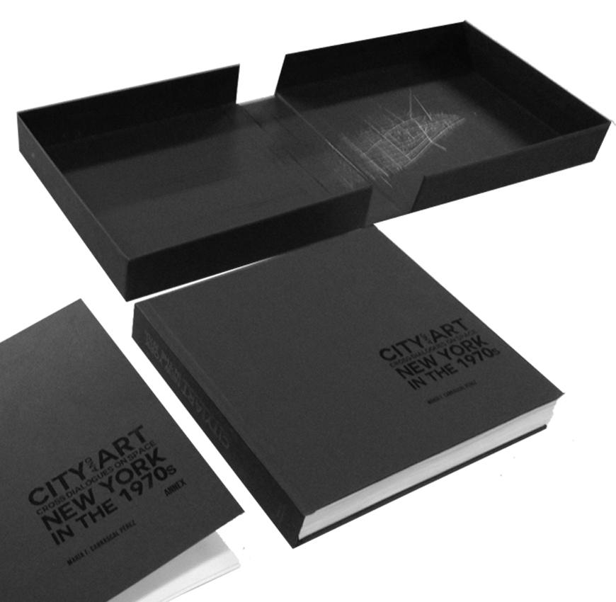 black book titled City and Art New York in the 1970s and a black box