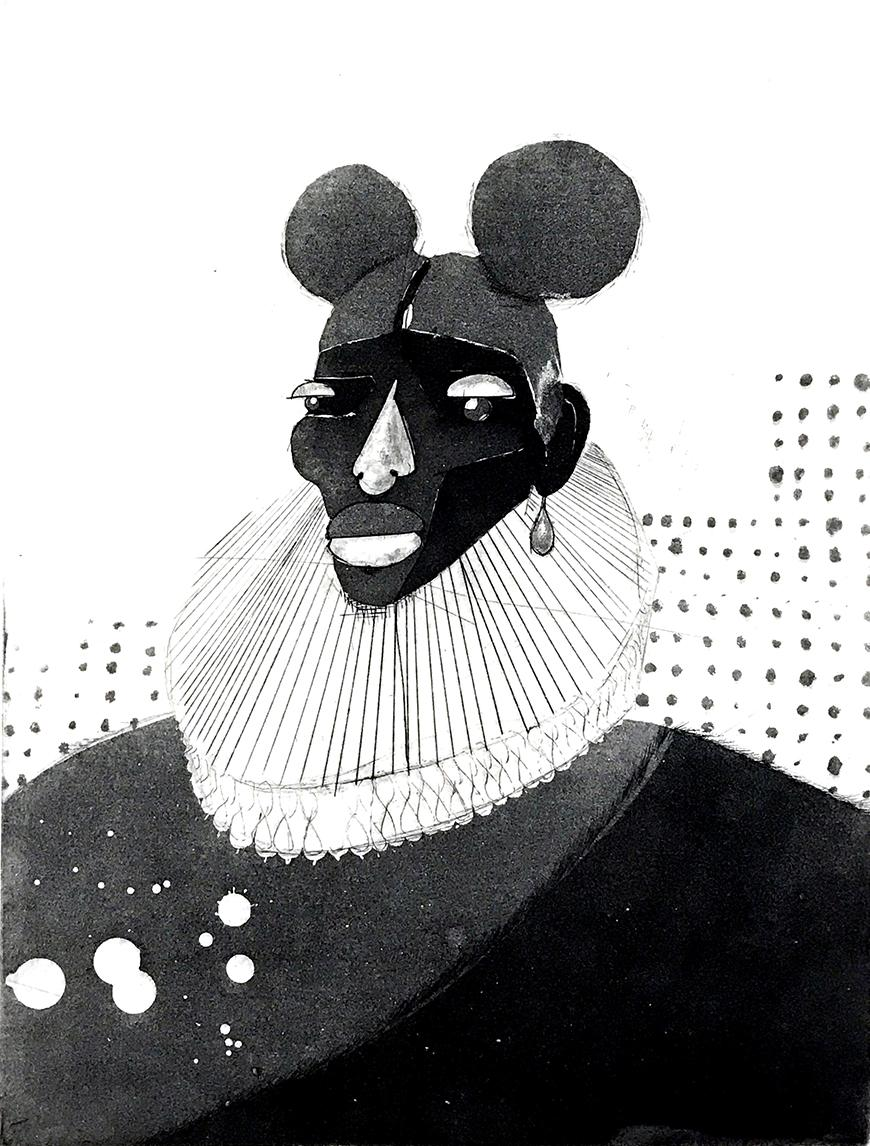 Black and white print of someone wearing a 17th century outfit with hair in pigtails.